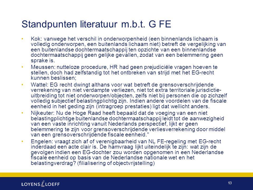 Standpunten literatuur m.b.t. G FE