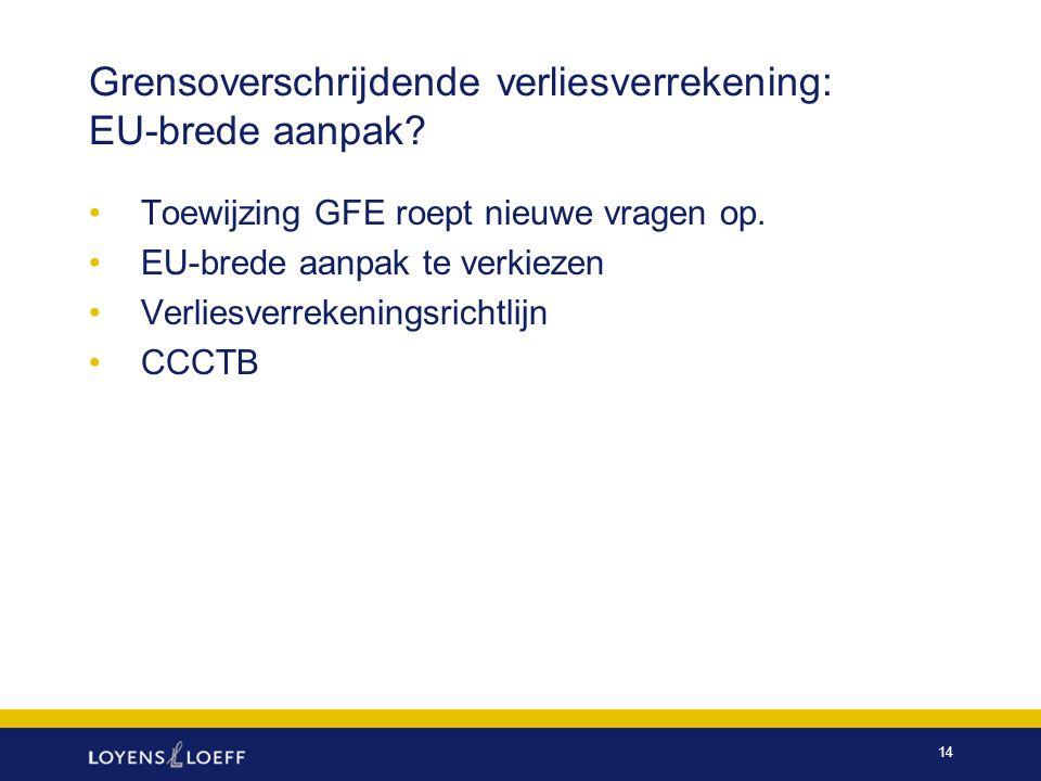 Grensoverschrijdende verliesverrekening: EU-brede aanpak