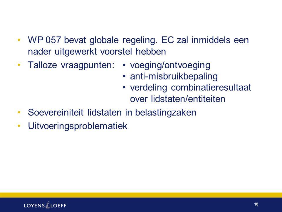 WP 057 bevat globale regeling
