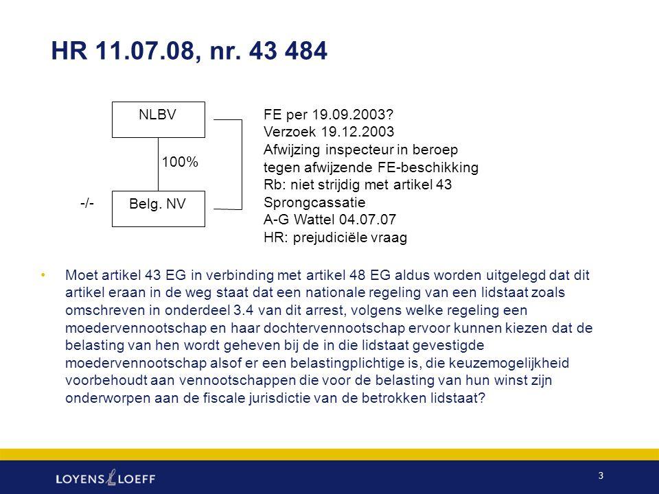 HR 11.07.08, nr. 43 484 NLBV. FE per 19.09.2003 Verzoek 19.12.2003 Afwijzing inspecteur in beroep.