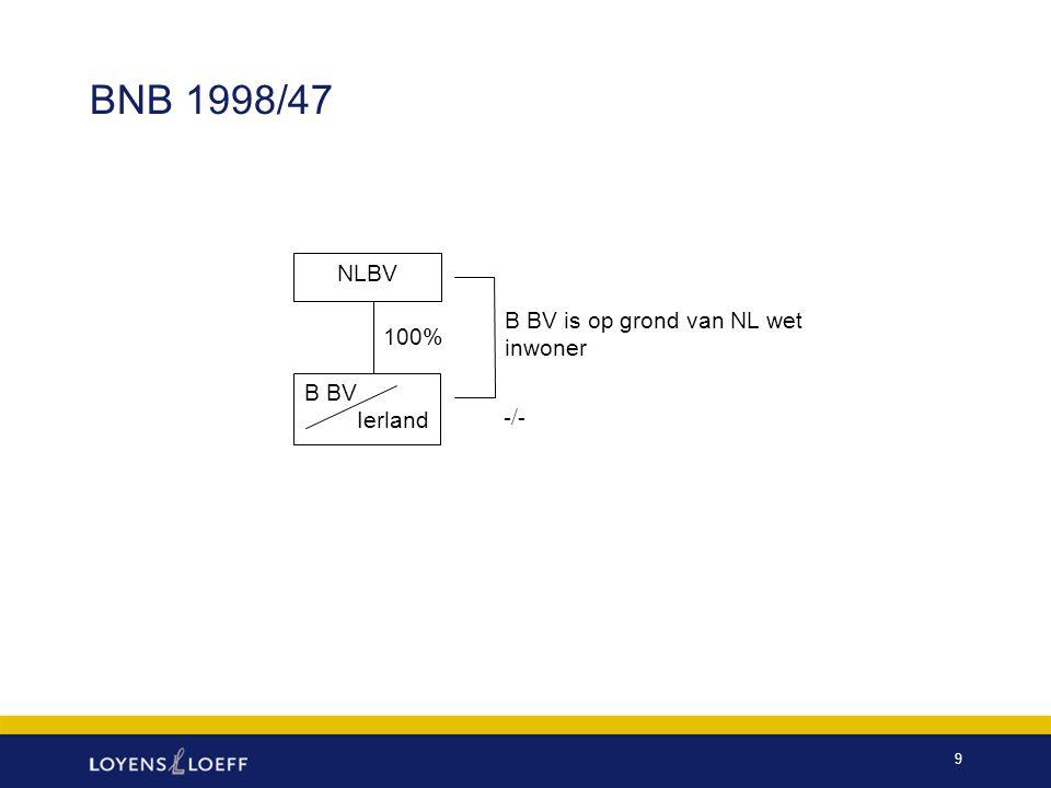 BNB 1998/47 NLBV B BV is op grond van NL wet inwoner 100% B BV Ierland