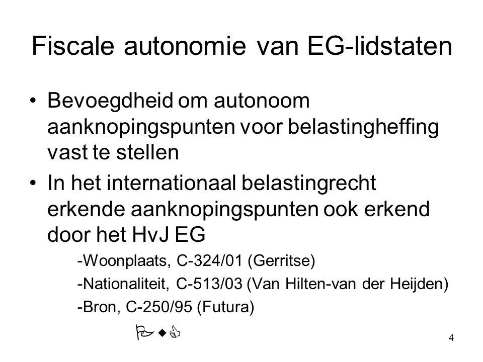 Fiscale autonomie van EG-lidstaten