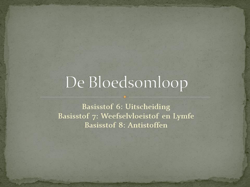 De Bloedsomloop Basisstof 6: Uitscheiding Basisstof 7: Weefselvloeistof en Lymfe Basisstof 8: Antistoffen.