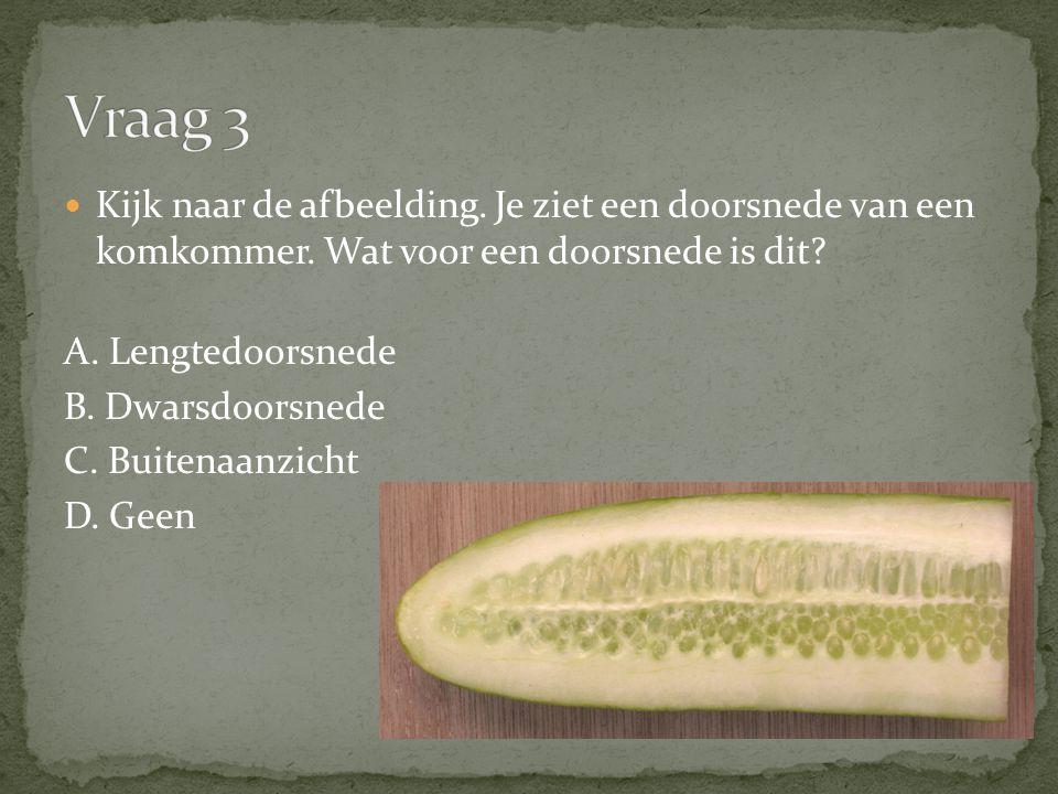 Vraag 3 Kijk naar de afbeelding. Je ziet een doorsnede van een komkommer. Wat voor een doorsnede is dit