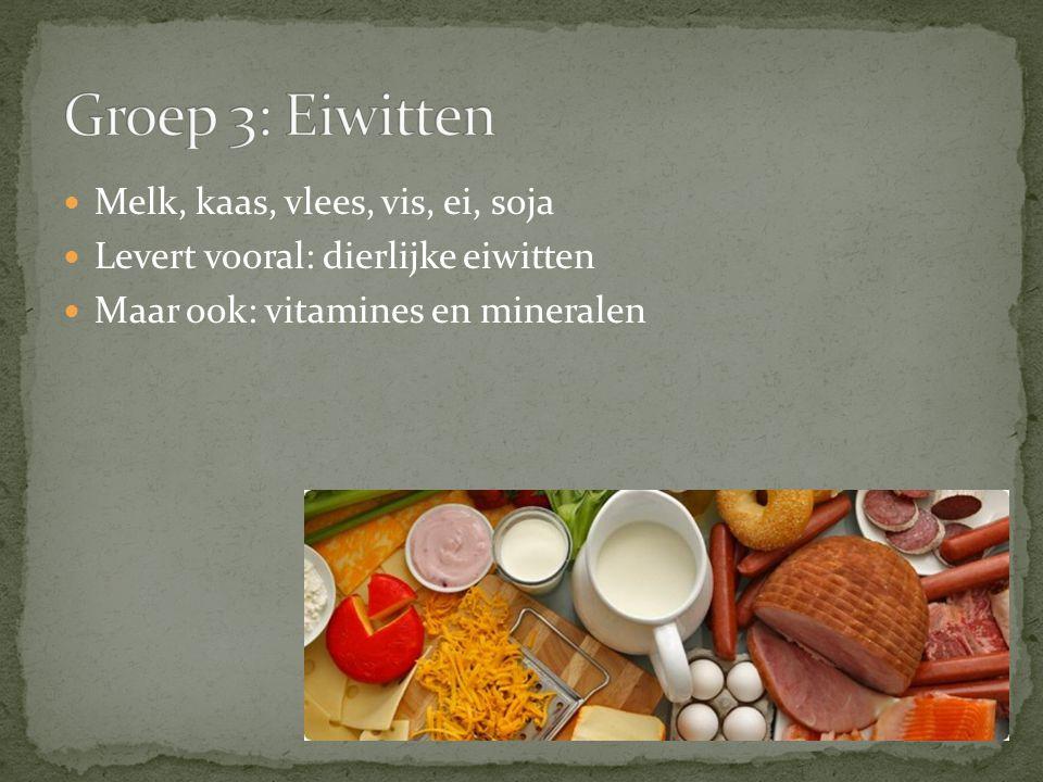 Groep 3: Eiwitten Melk, kaas, vlees, vis, ei, soja