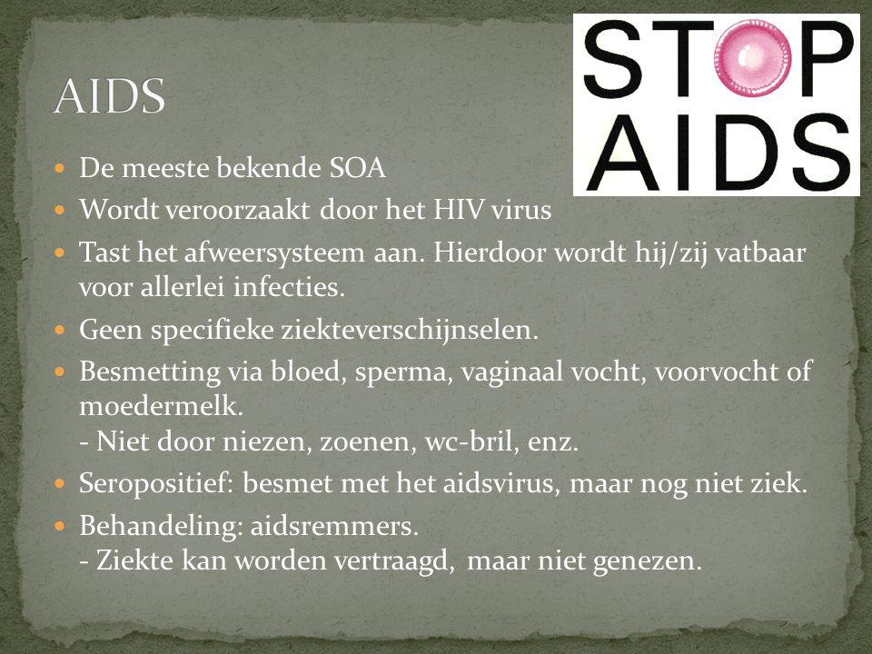AIDS De meeste bekende SOA Wordt veroorzaakt door het HIV virus