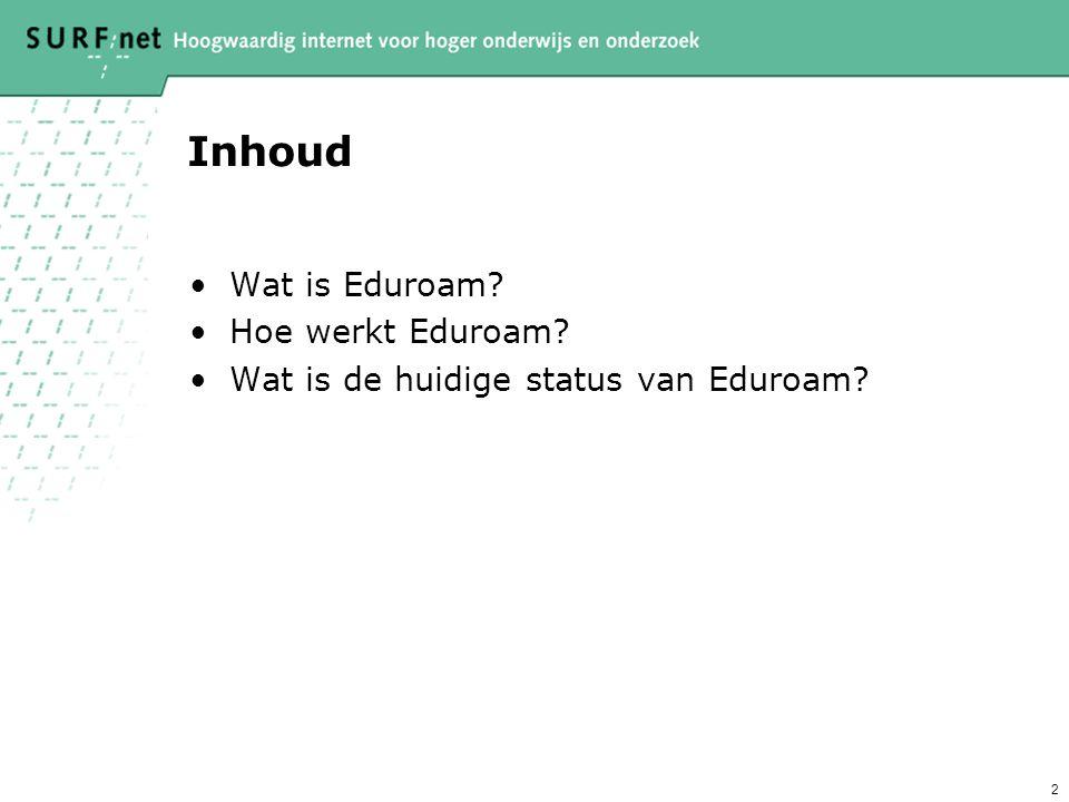 Inhoud Wat is Eduroam Hoe werkt Eduroam