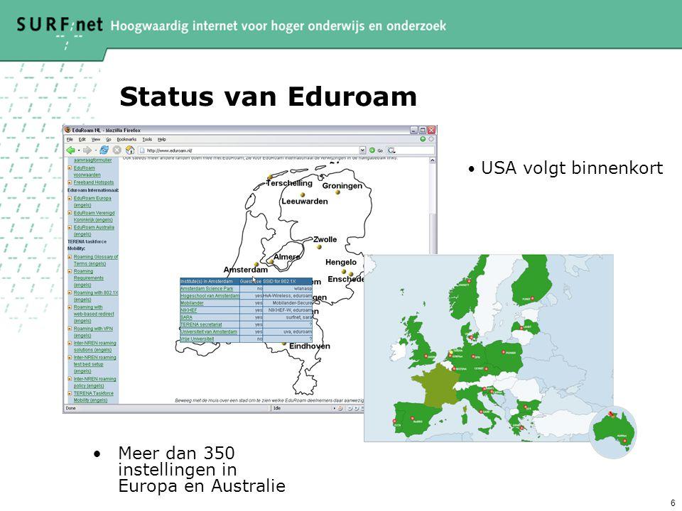 Status van Eduroam Meer dan 350 instellingen in Europa en Australie