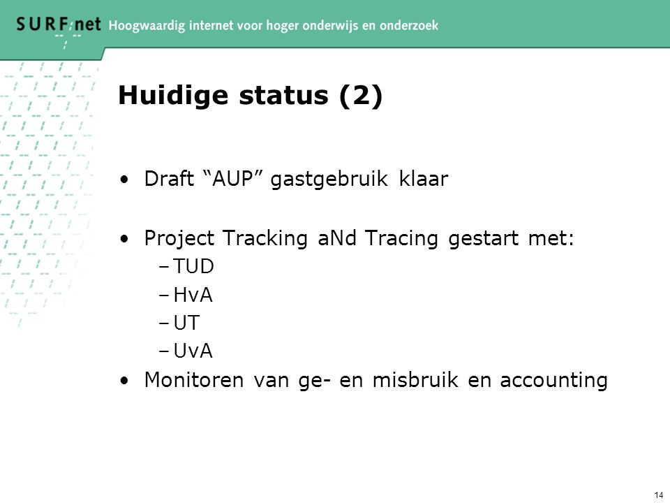Huidige status (2) Draft AUP gastgebruik klaar