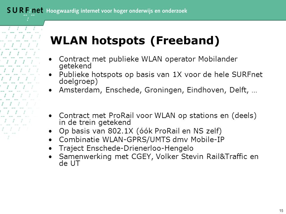 WLAN hotspots (Freeband)