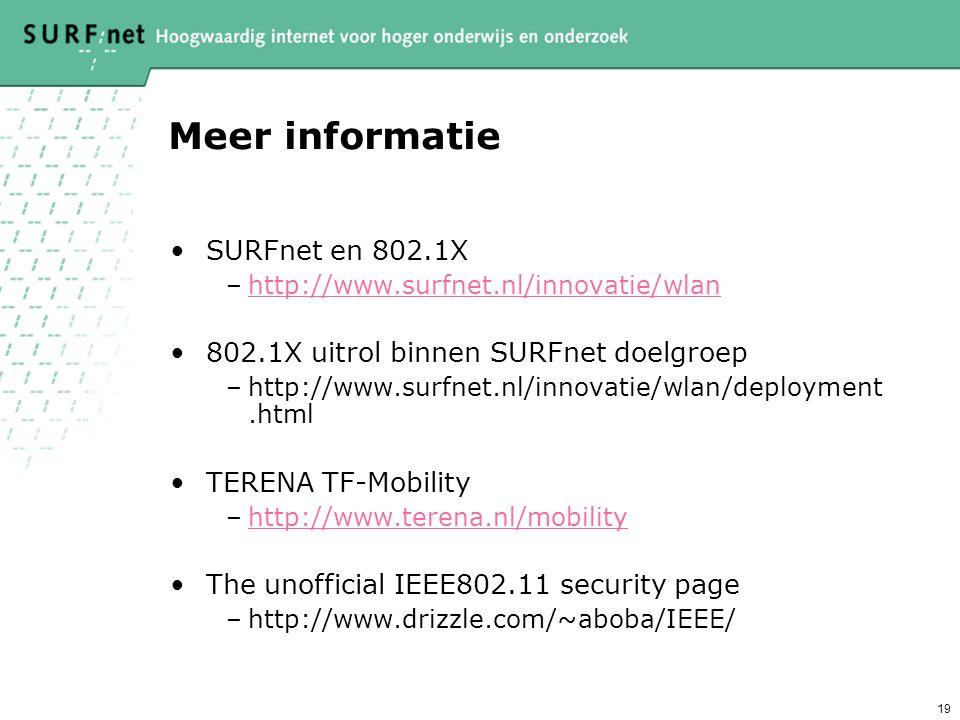 Meer informatie SURFnet en 802.1X