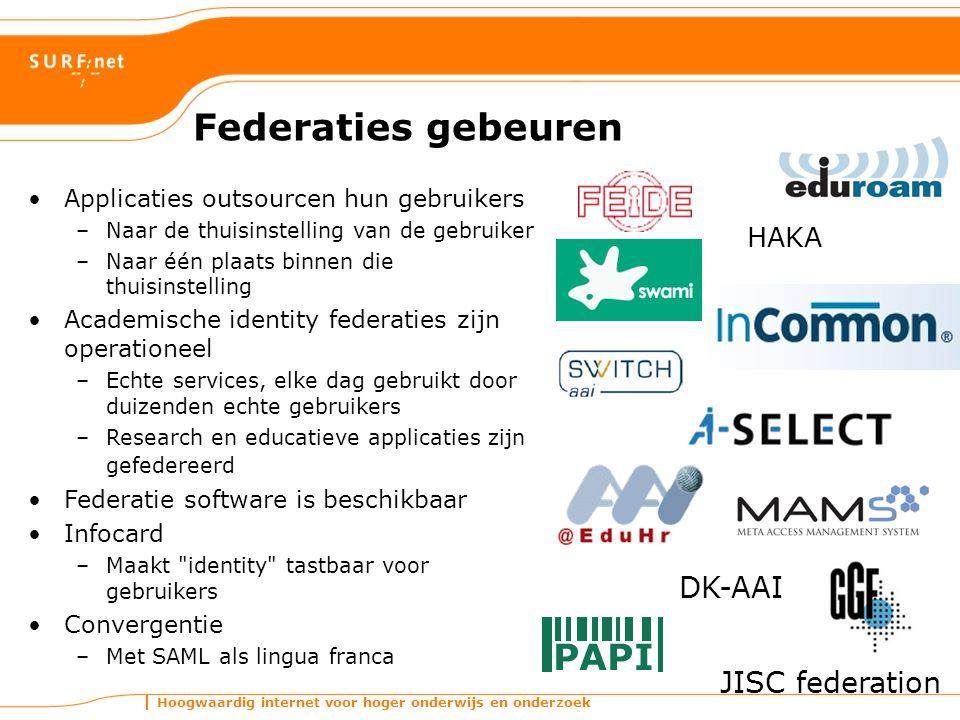 Federaties gebeuren DK-AAI JISC federation HAKA