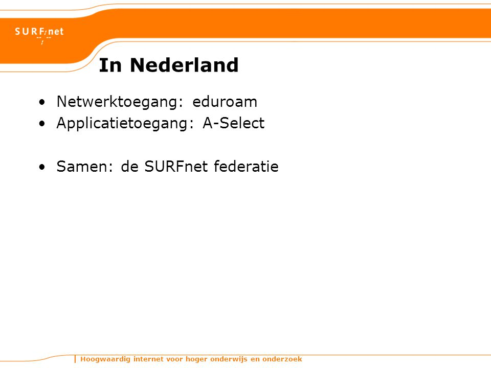 In Nederland Netwerktoegang: eduroam Applicatietoegang: A-Select
