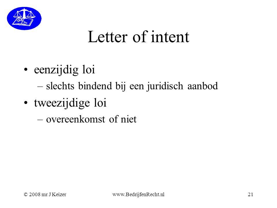 Letter of intent eenzijdig loi tweezijdige loi