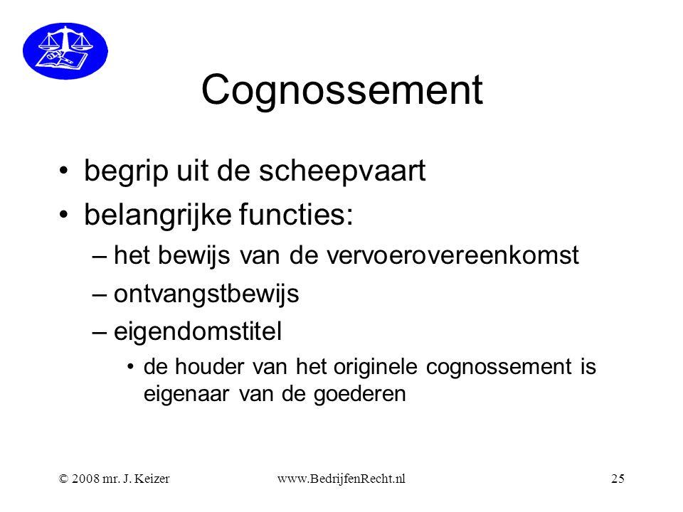 Cognossement begrip uit de scheepvaart belangrijke functies: