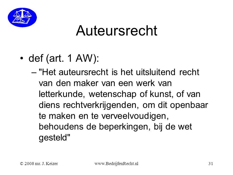Auteursrecht def (art. 1 AW):