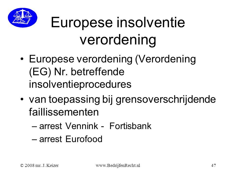 Europese insolventie verordening