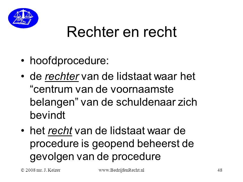 Rechter en recht hoofdprocedure: