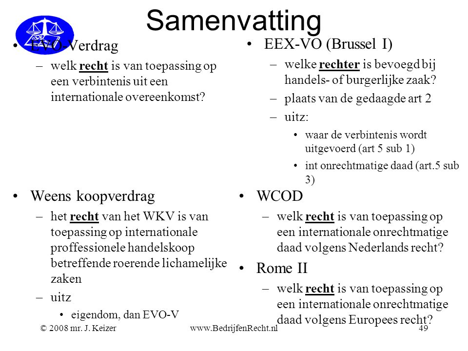 Samenvatting EVO-Verdrag EEX-VO (Brussel I) Weens koopverdrag WCOD