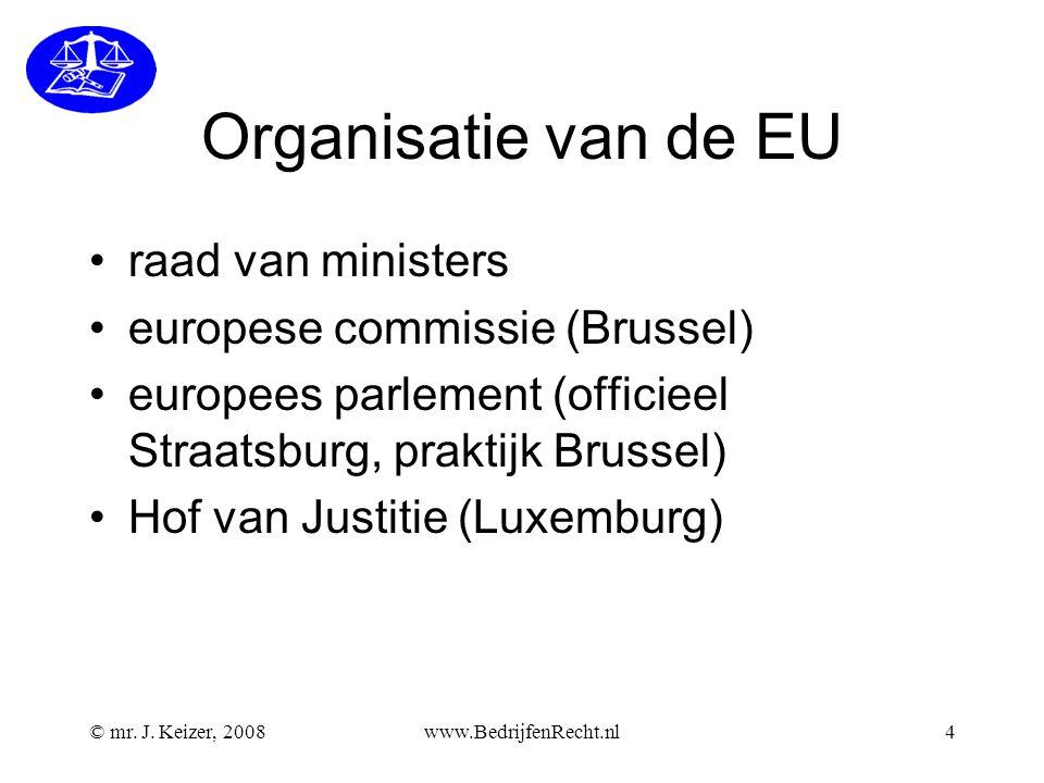 Organisatie van de EU raad van ministers europese commissie (Brussel)
