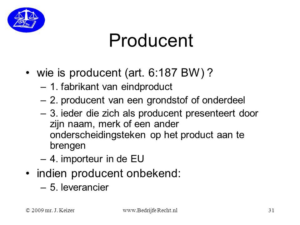 Producent wie is producent (art. 6:187 BW)