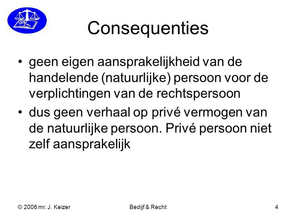 Consequenties geen eigen aansprakelijkheid van de handelende (natuurlijke) persoon voor de verplichtingen van de rechtspersoon.