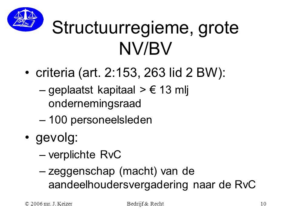 Structuurregieme, grote NV/BV