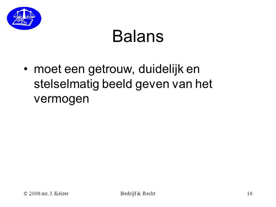 Balans moet een getrouw, duidelijk en stelselmatig beeld geven van het vermogen. © 2006 mr. J. Keizer.
