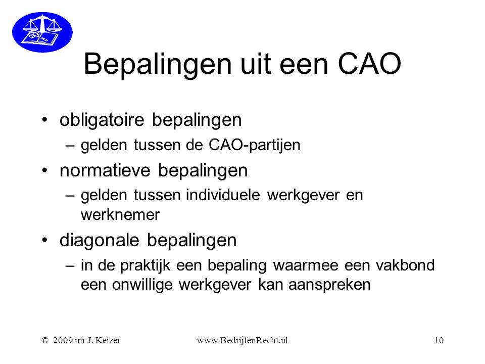 Bepalingen uit een CAO obligatoire bepalingen normatieve bepalingen