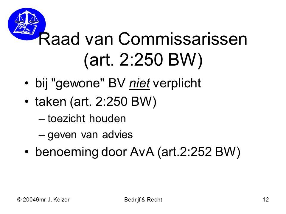 Raad van Commissarissen (art. 2:250 BW)
