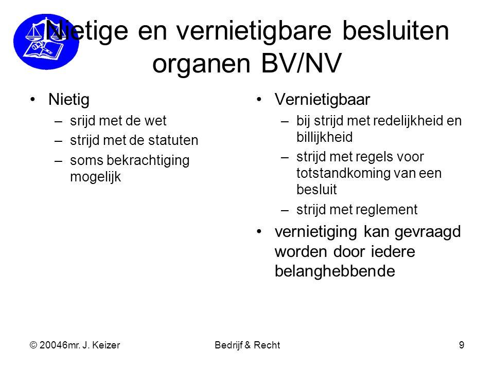 Nietige en vernietigbare besluiten organen BV/NV