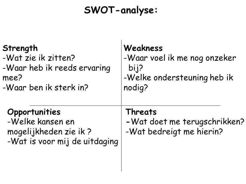 SWOT-analyse: Strength Wat zie ik zitten Waar heb ik reeds ervaring