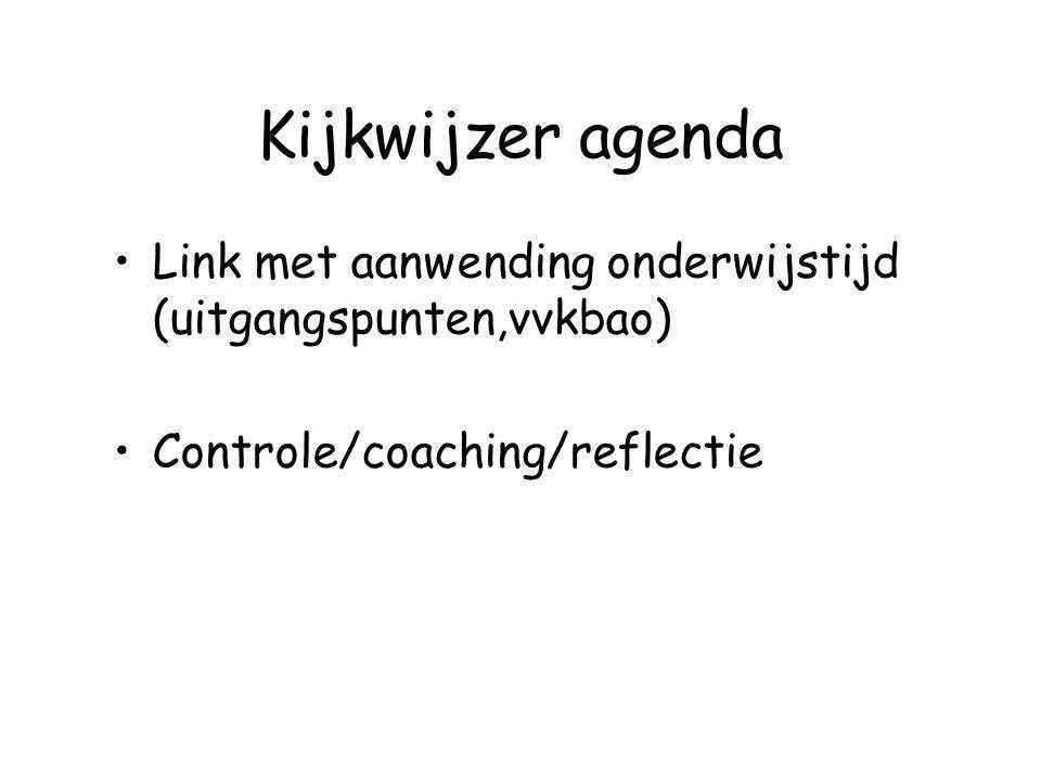 Kijkwijzer agenda Link met aanwending onderwijstijd (uitgangspunten,vvkbao) Controle/coaching/reflectie.