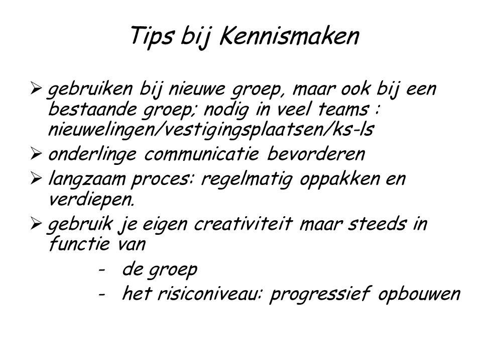 Tips bij Kennismaken gebruiken bij nieuwe groep, maar ook bij een bestaande groep; nodig in veel teams : nieuwelingen/vestigingsplaatsen/ks-ls.