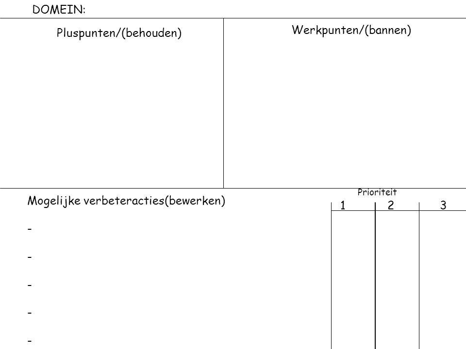 DOMEIN: Pluspunten/(behouden) Werkpunten/(bannen) Prioriteit. 1 2 3. Mogelijke verbeteracties(bewerken)