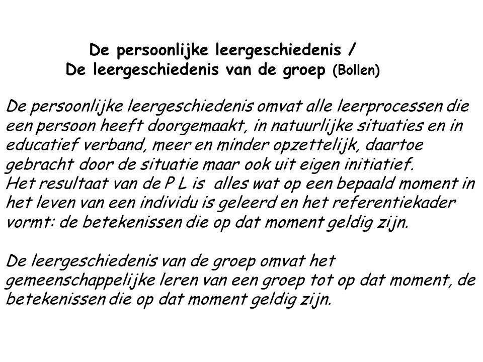 De persoonlijke leergeschiedenis / De leergeschiedenis van de groep (Bollen)