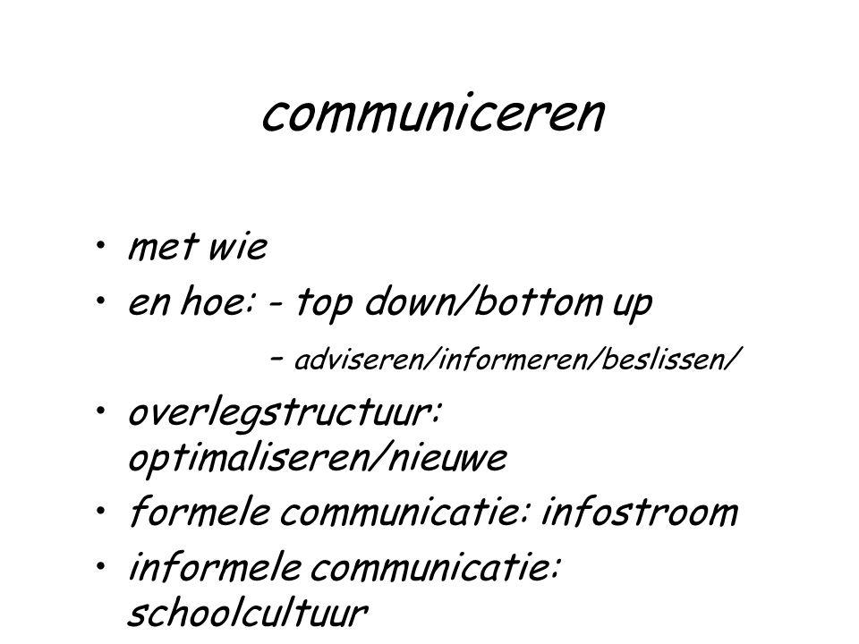 communiceren met wie en hoe: - top down/bottom up