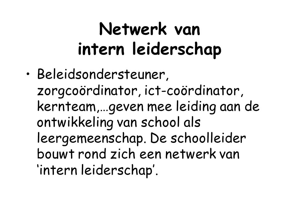 Netwerk van intern leiderschap