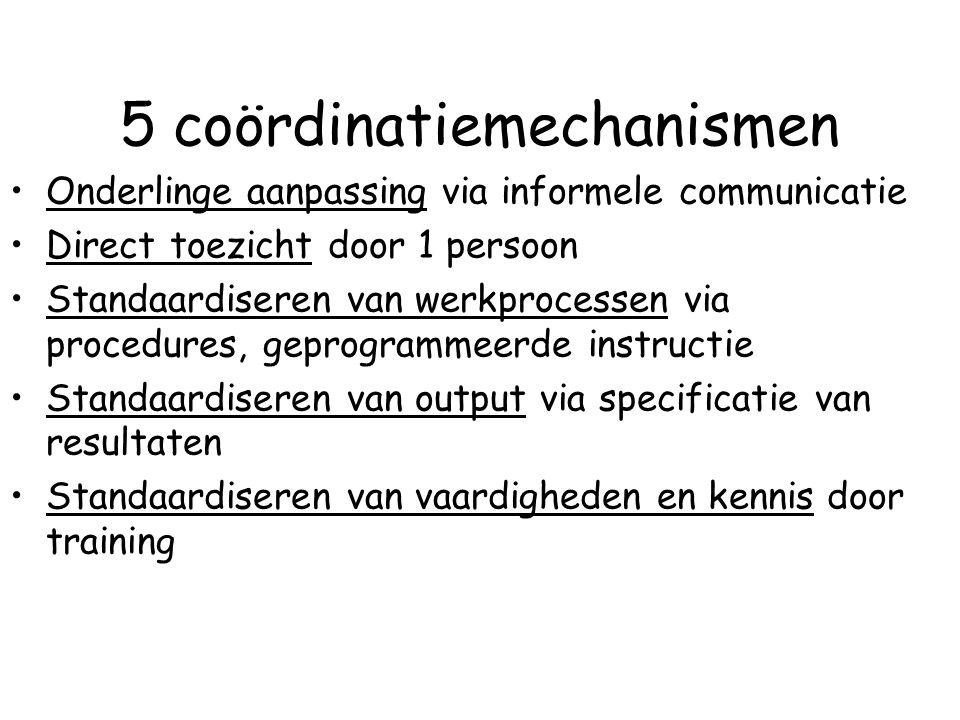 5 coördinatiemechanismen