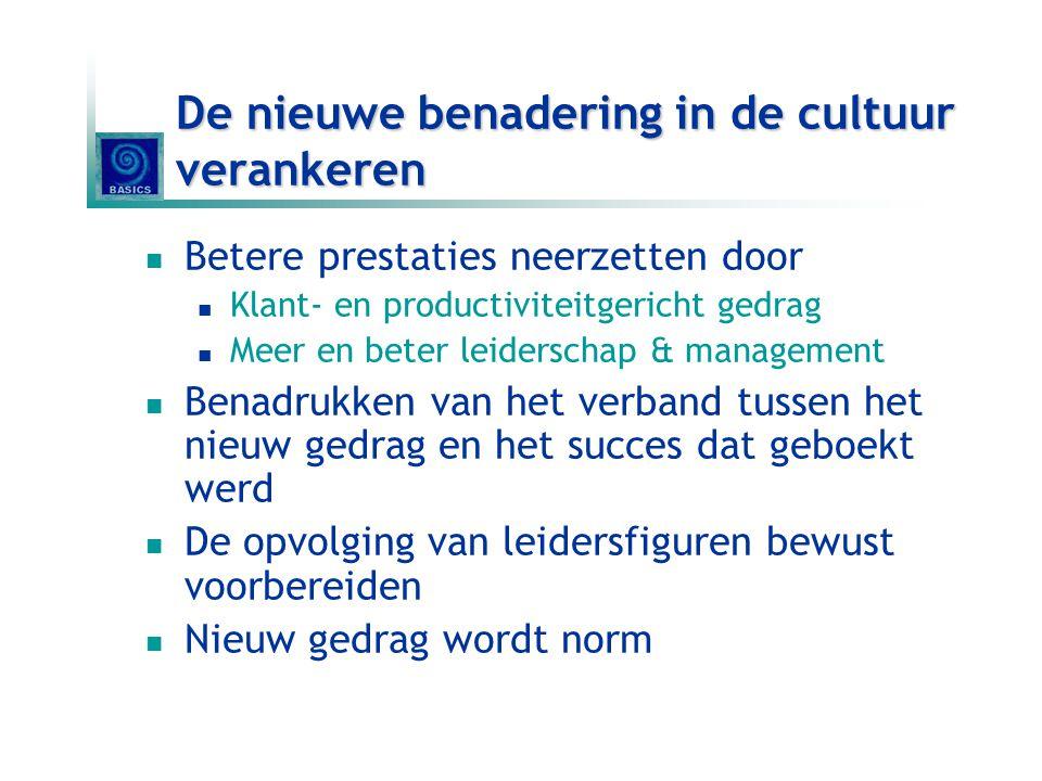 De nieuwe benadering in de cultuur verankeren