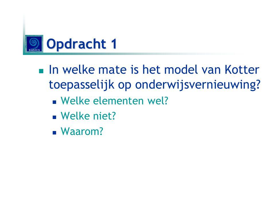 Opdracht 1 In welke mate is het model van Kotter toepasselijk op onderwijsvernieuwing Welke elementen wel