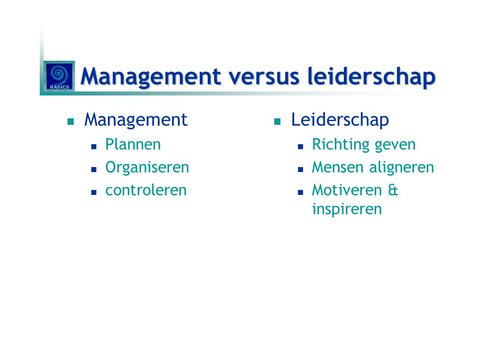 Management versus leiderschap