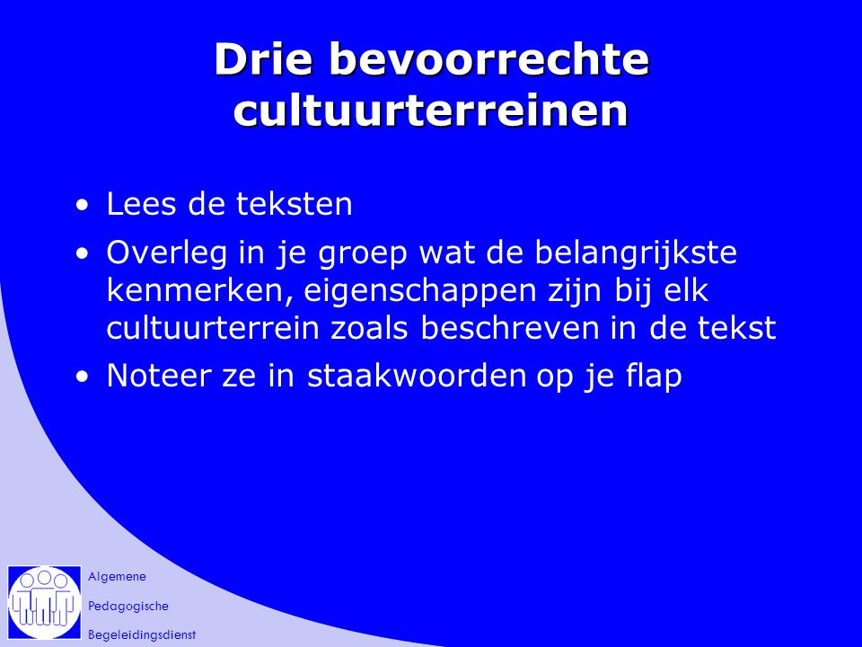 Drie bevoorrechte cultuurterreinen