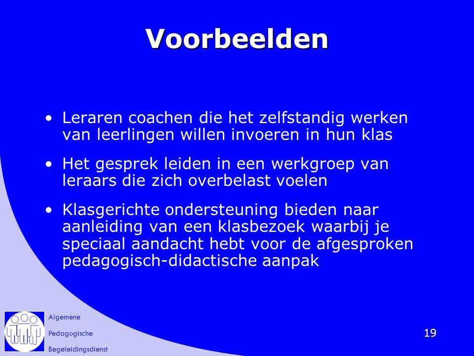 Voorbeelden Leraren coachen die het zelfstandig werken van leerlingen willen invoeren in hun klas.