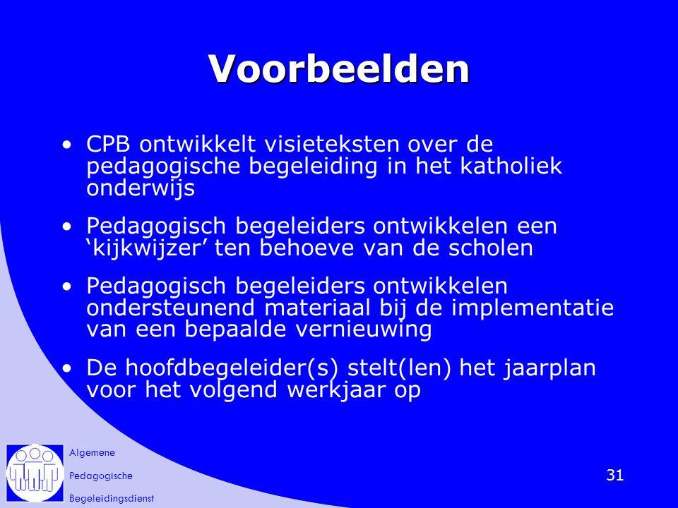 Voorbeelden CPB ontwikkelt visieteksten over de pedagogische begeleiding in het katholiek onderwijs.