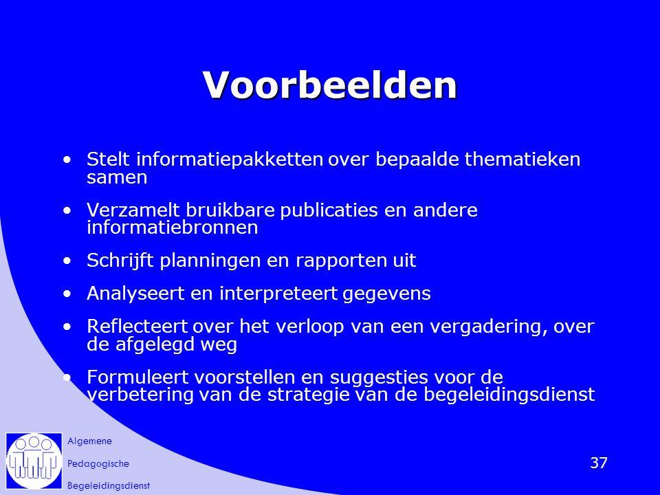 Voorbeelden Stelt informatiepakketten over bepaalde thematieken samen