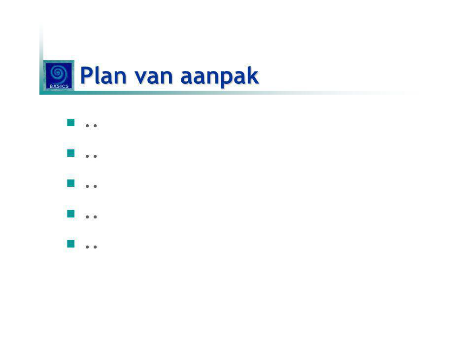 Plan van aanpak ..