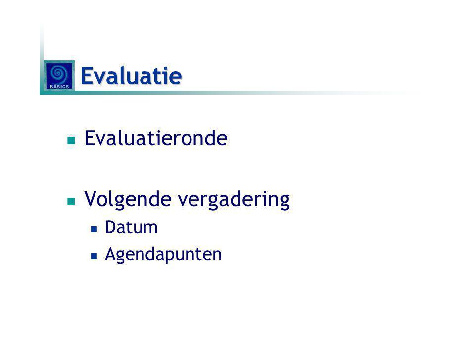 Evaluatie Evaluatieronde Volgende vergadering Datum Agendapunten