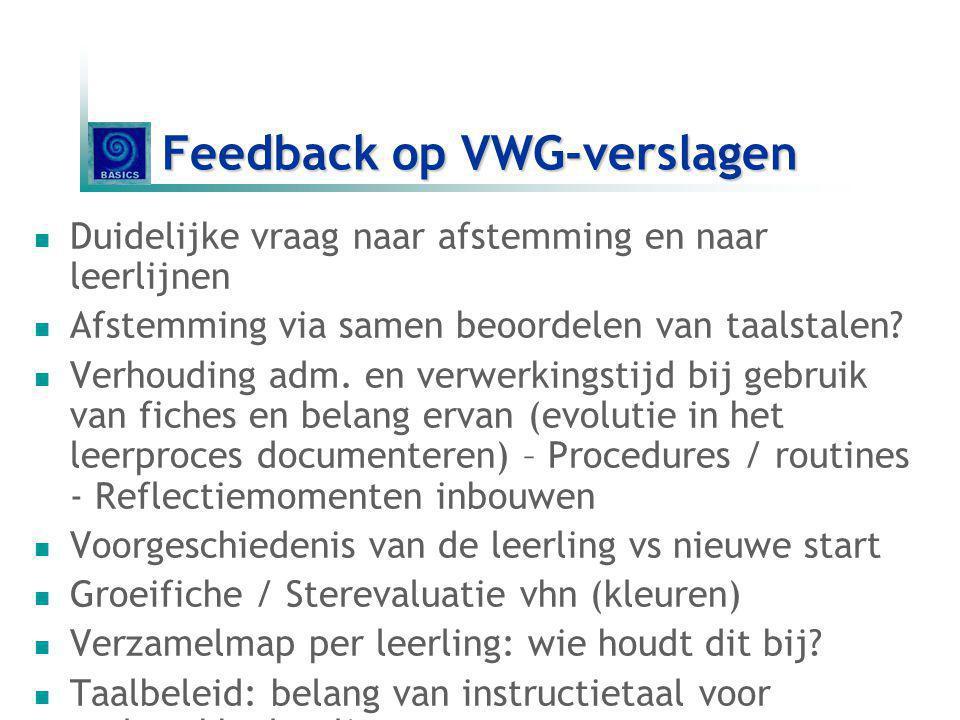 Feedback op VWG-verslagen
