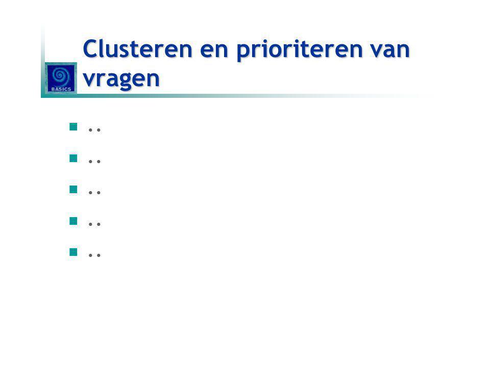 Clusteren en prioriteren van vragen